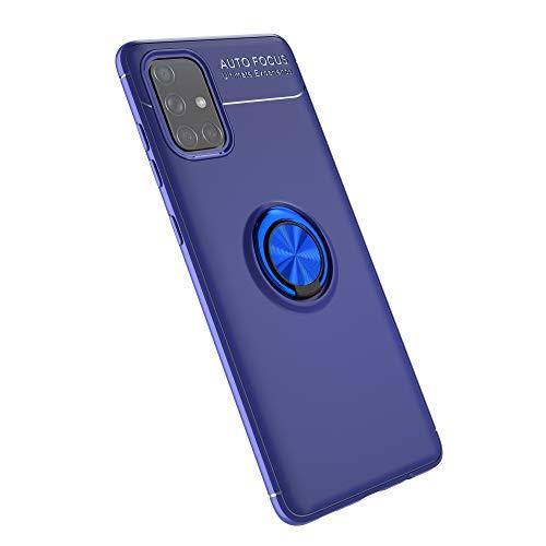 zl one Compatible con/reemplazo para Samsung Galaxy A71 5G / A Quantum Metal Ring Contraportada ultrafina TPU carcasa negra
