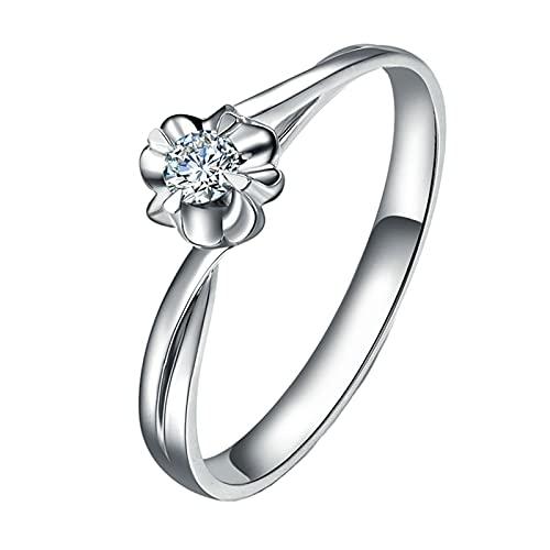 Beydodo Damen Ring 750 Weißgold Echt, Ehering Nickelfrei Blume Ring Solitär mit 0.09ct Diamant Hochzeitringe Größe 54 (17.2)