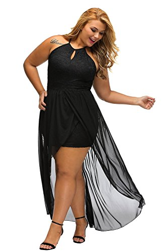 E&S&U Stylish Black Lace Special Occasion Plus Size Dress Black (US 22-24) XXXL