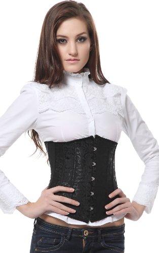 SZIVYSHI Negro Fajas para Cintura Corsé de Mujer Underbust Waist Cincher Gótico Steampunk Bustier Reductoras de Cinturón Firme de Formación,M