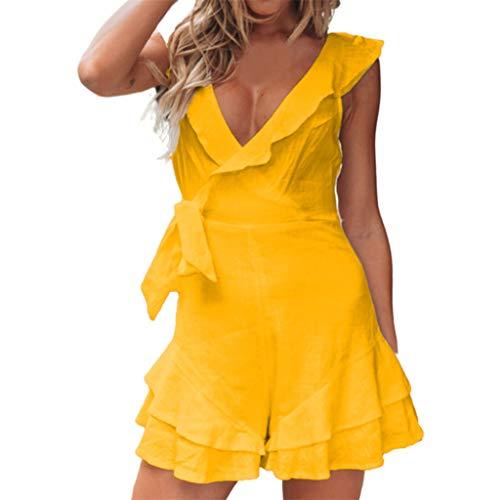 Frauen Rüschen Minikleid Mode lässig einfarbig tiefem V offenem Rücken Rock sexy kurzen Halfter ärmelloses Kleid Sonojie