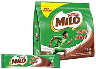 3 Pack Nestle Milo 3 in 1 Activ-Go Nutritious Chocolate Malt Drink (3 x 18 sachets) Free Express Delivery