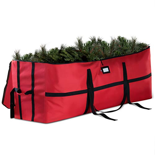 Extra Wide Opening Christmas Tree Storage Bag - Fits Up To 9 ft. Tall Artificial Disassembled Trees, Durable Straps & Reinforced Handles - Holiday Xmas, 600D Oxford Duffle Bag - 5 Year Warranty, Red
