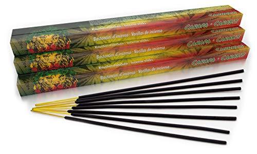 Luxflair Premium Räucherstäbchen Cannabis, XL Set mit 10 Packungen á 8 Räucherstäbchen (80 Stück), Lange Brenndauer von je ca. 45min