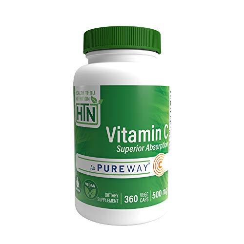 Superior Absorption Vitamin-C 500mg as PureWay-C® (360 VegeCaps) Non GMO and Free from Common excipients Such as Magnesium Stearate and Silica by Health Thru Nutrition (360)