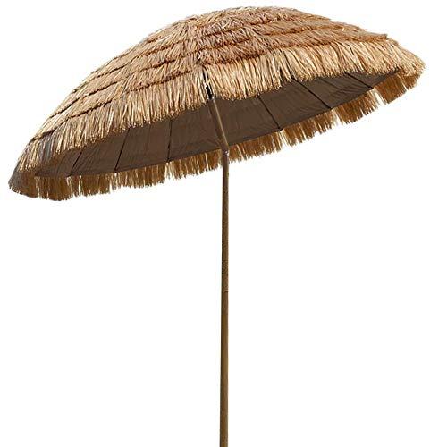 1,8 M Sombrilla Playa, Inclinado/De Altura Ajustable,sombrillas Portátiles para La Playa para La Playa/Piscina/Patio Paraguas Protector Solar (Paja De Imitación)
