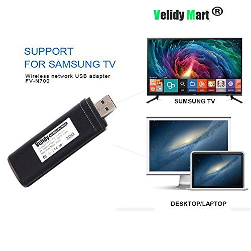Velidy Wireless USB Wi-Fi adapter for television, 802.11ac dual-band 2,4 GHz and 5 GHz, USB wireless WiFi network adapter for Samsung smart TV WIS12ABGNX WIS09ABGN 300M