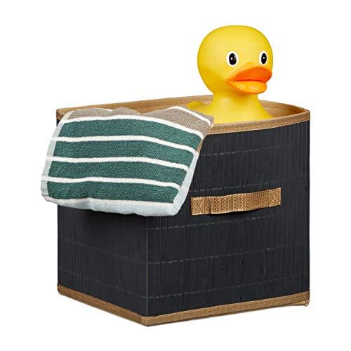 Relaxdays Boîte de rangement pliable ouverte poignée 28 cm carré étagère nature HxlxP: 28,5 x 28,5 x 28,5 cm gris