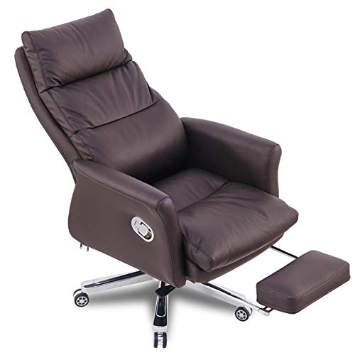 Silla de oficina de cuero giratoria para el hogar, silla de computadora, cómoda silla de oficina de trabajo, silla ajustable con reposabrazos (color marrón, tamaño: sin almohadilla)