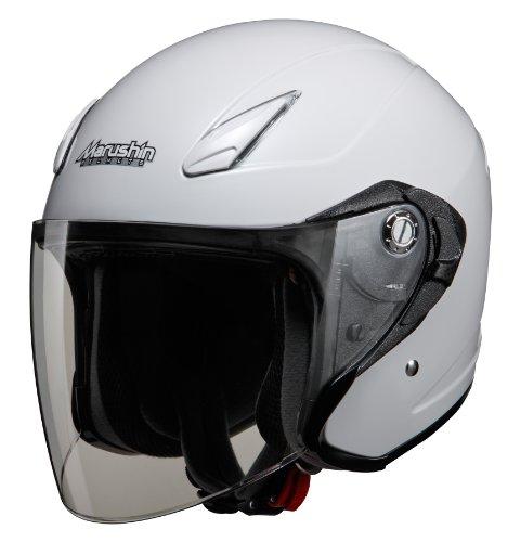 マルシン(MARUSHIN) バイクヘルメット インナーバイザー(スモーク)付き ジェット M-430 ホワイトメタリック フリーサイズ (57-60cm) 4301