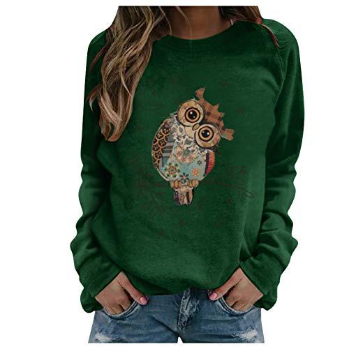 Damen Sweatshirt Pullover Winter Herbst Oberteile Drucken Rundhals Langarm Shirts Damen Bluse Pulli Dünne Teenager Mädchen Tunika Lang Tops(Grün,M)