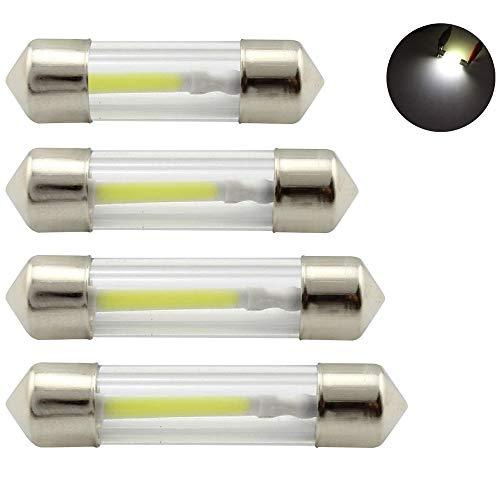 LED Festoon Dome Light 41mm 12V 360 grados COB Lámpara de filamento blanco 6000K para bombillas de lectura de automóviles, luces interiores, luz de matrícula, 4 piezas (41mm blanco)