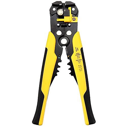 MMOBIEL Pelacables automático para engarzar y cortar Alicates profesionales10-24 AWG 0,2-6,0mm² Herramienta manual multifuncional autoajustable
