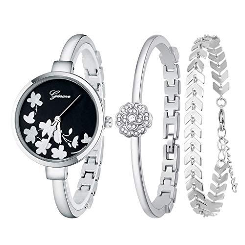 QFERWorologi Semplice ed elegante orologio al quarzo con diamanti 3 pezzi Set Bracciale da donna in oro rosa Orologio con fiori Gioielli Orologio da polso casual da donna, Argento