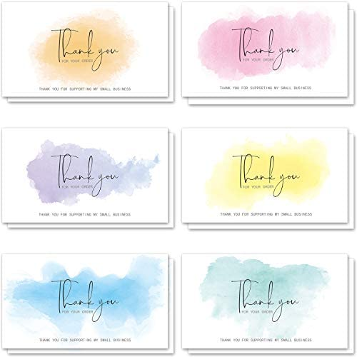 240 Pieces Watercolor Thank You for Supporting My Small Business Cards Customer Colorful Thanks product image