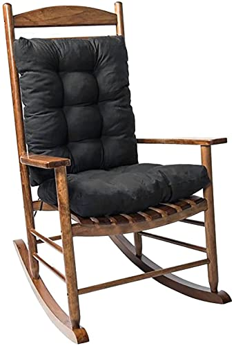 Rocking Chair Cushion Set with Ties,2 Piece Non-Slip Seat/Back Chair Cushion Replacement Indoor/Outdoor Soft Thickened Patio Chaise Lounger Swing Bench Cushion Patio Recliner Chair Pads (Black)