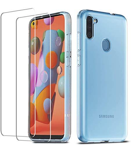 QHOHQ Hülle für Samsung Galaxy A11/Galaxy M11 mit 2 Stück Schutzfolie, Silikon TPU Anti-Fall Handyhülle - Panzerglas Membran - [9H Festigkeit] - [Anti-Kratz]