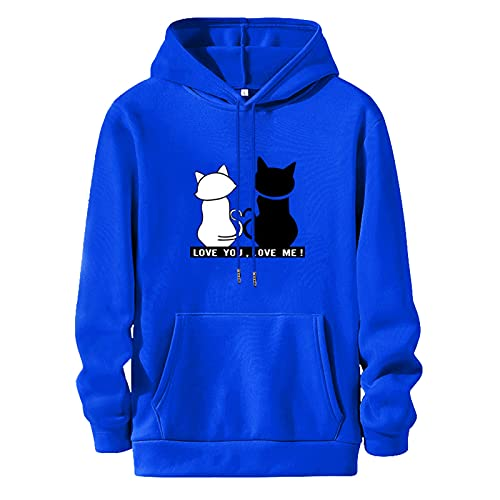 Womans Black and White Cat Hoodies Sweatshirt Casual Pullover Long Sleeve Sweatshirts Plus Size Hooded with Pocket