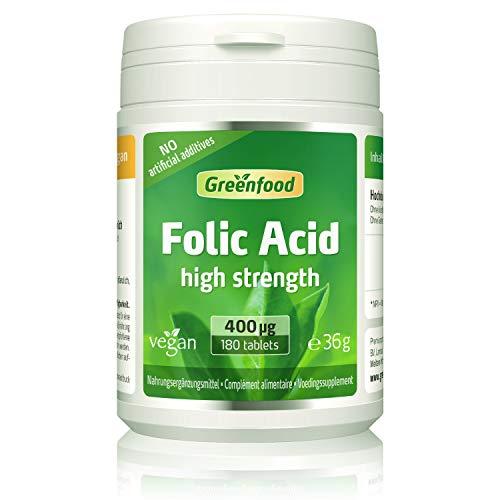 GF Folsäure, 400 µg, hochdosiert, 180 Tabletten, vegan – für Blutbildung, bei Kinderwunsch und Schwangerschaft, für Zellwachstum. OHNE künstliche Zusätze. Ohne Gentechnik. Vegan.