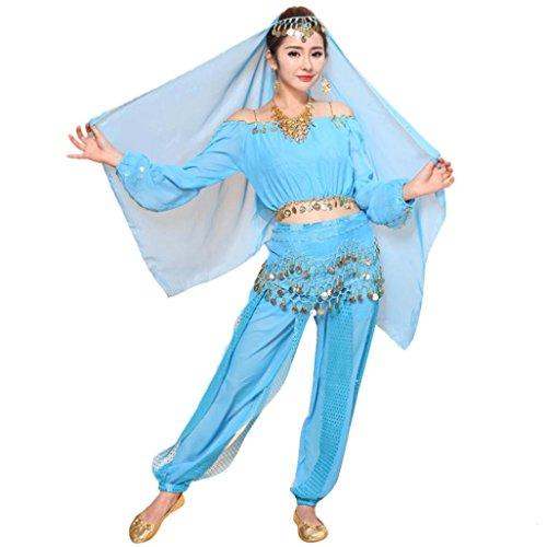 TUDUZ Damen Tanz Outfits Tanzkleidung Bauchtanz Kostüm Set, Indian Chiffon Dancing Kleid Kleidung Belly Dance Costumes Top + Pants Set (Hellblau, Freie Größe)