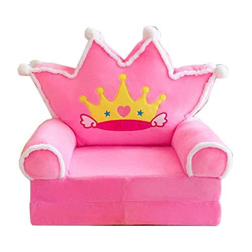 1yess Presidente de la Felpa Suave Infantil Sofá Respaldo Plegable Dulce Princesa heredera Asiento Infantil de bebé en la Sala de Estar Dormitorio Perfecto Regalo de Las Muchachas (Rosa)