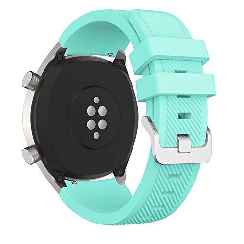 KAAGGF 22mm Silikon Uhrenarmband für Huawei für Ehre Magic Watch 2 Sport Ersatz Armbands für Huami Amazfit Stratos 3 Gurt (Band Color : Mint Green, Band Width : 22mm)