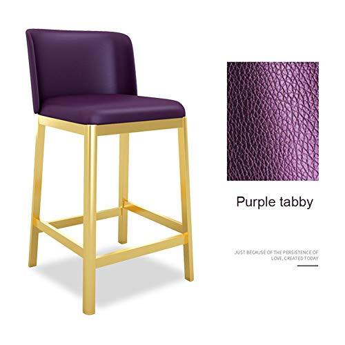 Axx Non-Slip Dining Chair voetsteun hoge kruk - Purple Tabby kussen - Moderne barkruk stoel met rugleuning voor keuken/Pub Barkrukken goud metalen poten