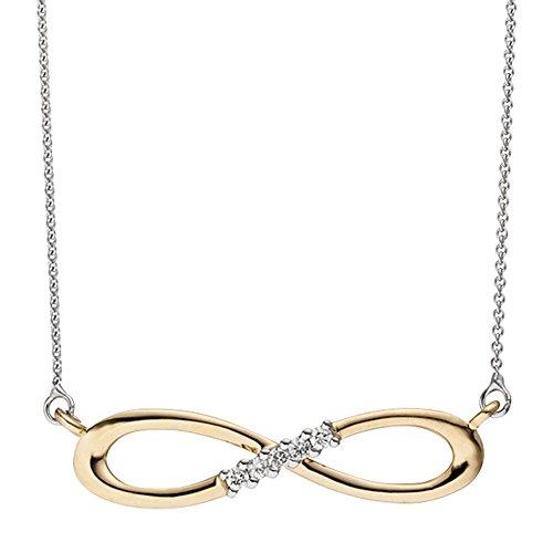 JOBO Collier Halskette Unendlich 585 Gold bicolor 5 Diamanten Brillanten Kette