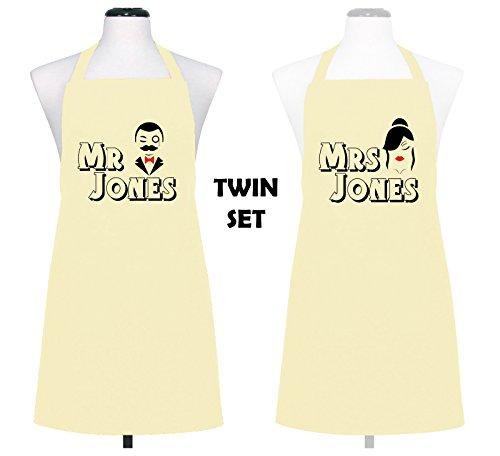 Juego personalizado Señor & Mrs marido y esposa cocina Chef delantales (lote de 2) boda regalo