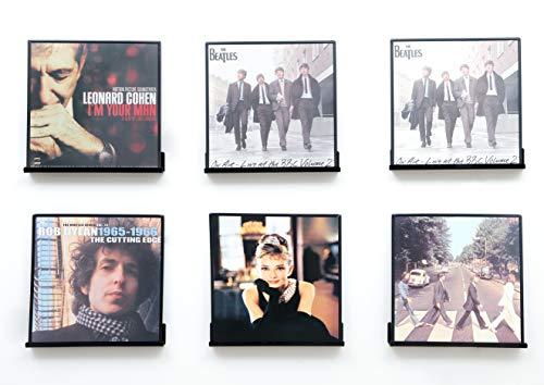 IEEK Vinyl-Schallplatten-Regal, Wandhalterung, 6 Stück, schwarz, Acryl-Album- und Schallplatten-Halter, Display Regal, zeigen Sie Ihr tägliches Hören stilvoll