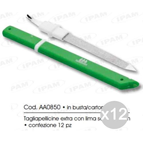 Ipam Set 12 AA0850 Taille cuticules Extra + Lime 14 cm manucure et pédicure, Multicolore, Unique