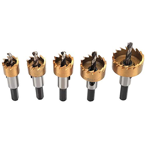 wosume Sheet Metal Hole Saw, High Precision High Speed Steel 5Pcs Drill Bit Saw, Special Heat Treatment Drill Saw Set, for Woodworking Manual Electric Drill