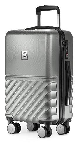 HAUPTSTADTKOFFER - Boxi - Handgepäck 55 x 35 x 20 cm Hartschalen-Koffer Trolley Rollkoffer Reisekoffer TSA, 4 Rollen, 55 cm, Silber