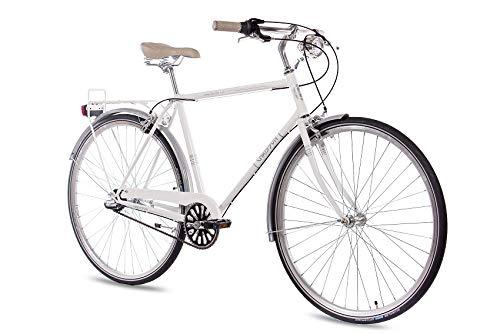 Chrisson City Gent City Bike Herenfiets, 28 inch, vintage City Gent wit, Old School herenfiets met 3 versnellingen Shimano Nexus naafversnellingen en terugtraprem, retro stadsfiets voor mannen