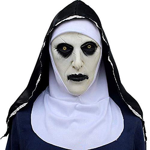 Lucky Lian Nonne Maske mit Kapuze für Erwachsene Horror Halloween Party Porp