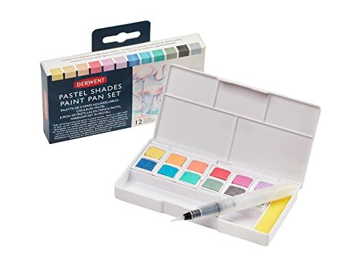 Derwent Pastel Shades Paint Set, Professional Quality Long Lasting Colors, Highly Pigmented Palette, Portable, Travel Set Includes 12 Paint Pans, Mini Waterbrush, Mixing Palettes, Sponge