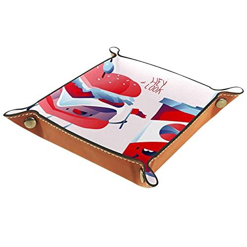 Plateau de jeux de dés à rouler pliant en cuir plateaux à bijoux carrés et montre, clé, pièce de monnaie, boîte de rangement de bonbons Hamburger et personnage de Cola