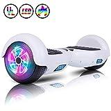 Huanhui Skateboard Électrique 6.5 Pouces Puissance 600W avec LED, Gyropode Auto-Équilibrage de Bonne qualité pour Enfants et Adultes, Blanc