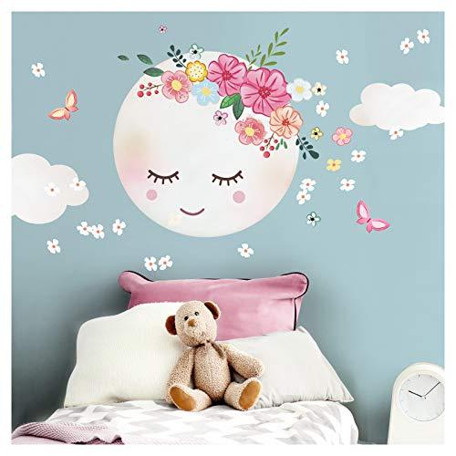 Little Deco Wandsticker Kinderzimmer Mädchen Mond & Wolken I L - 31 x 31 cm (BxH) I Wandtattoo Babyzimmer selbstklebend Wandaufkleber Blumen Kinder DL270