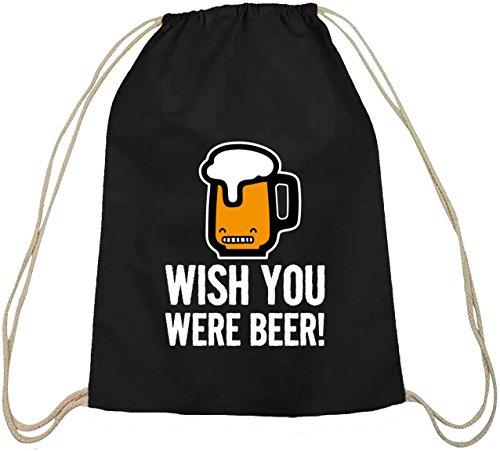 Shirtstreet24, Wish You Were Beer! Baumwoll natur Turnbeutel Rucksack Sport Beutel, Größe: onesize,schwarz natur