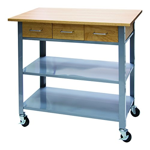 "Vertiflex Countertop Serving Cart with 3 Drawers/2 Shelves, 19.7"" x 35.5"" x 34.25"", Silver/Wood (VF53039)"