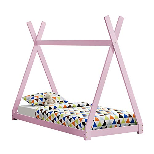 [en.casa] Cama para niños pequeños - Cama Infantil 200x90cm Estructura Tipi de Madera Pino Color Rosa