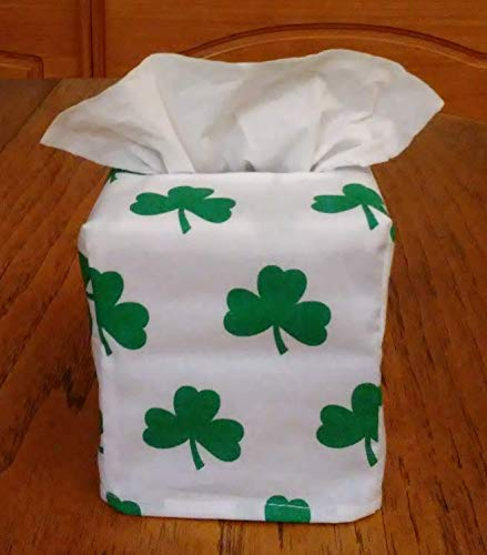 Tissue Box Cover, Square, Green Shamrocks on White Fabric Tissue Box Cover, Handmade, Free Shipping