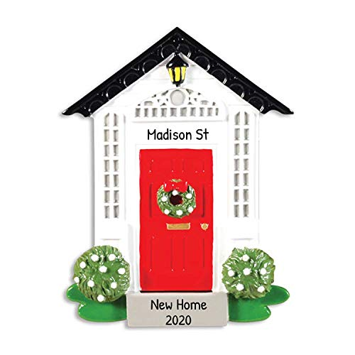 Personalized Our Home Christmas Tree Ornament 2019 - New Elegant Red Door Family House with Black Roof Green Wreath First Winter Ribbon Warming Holiday Mate Host Gift Year - Free Customization