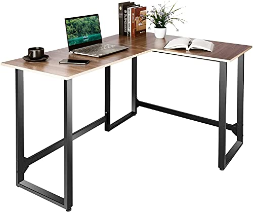 Escritorio de esquina en forma de L, estilo industrial para oficina en casa, estudio, escritorio espacioso, fácil de montar, 100 x 128 x 75 cm