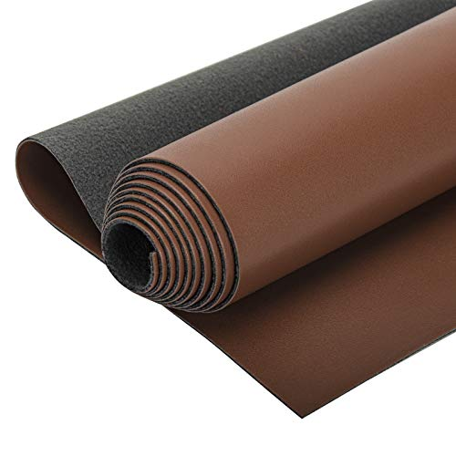 """Faux PU Leather Sheets 1 Yard 54"""" x 36"""" Fabric Synthetic Leather Fabric Material, Ideal for Upholstery, DIY Craft, Sofa, Handbag, Sewing, Shoe Making, Hair Bows Decorations(Thick1.2mm,Coffee)"""
