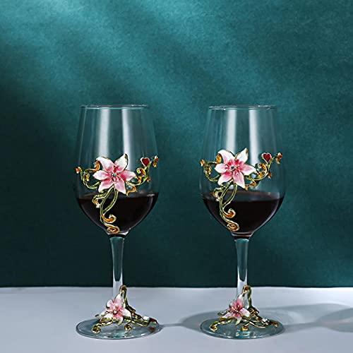 Juego de copas de vino pintadas a mano con forma de ginebra, 2 unidades, regalo de cumpleaños para mujeres, madres, amigos, amantes del día de la madre, 306 ml (taza rosa lirio)