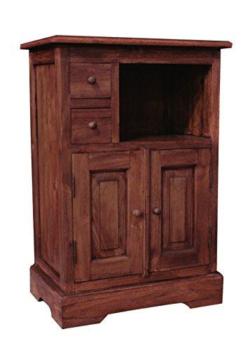 """NES Furniture 32"""" Fine Handcrafted Furniture Solid Teak Wood Leon Bar Cabinet"""