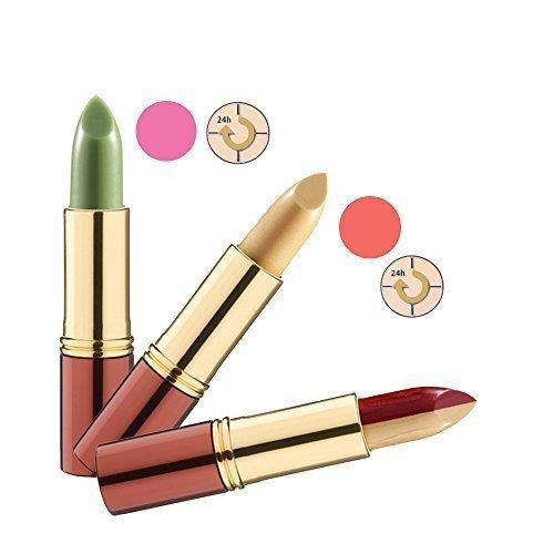 IKOS Lippenstift 3er Set: der denkende Lippenstift grün/nachtrosa + gelb/apricot und Duo-Lippenstift gelb/bordeaux