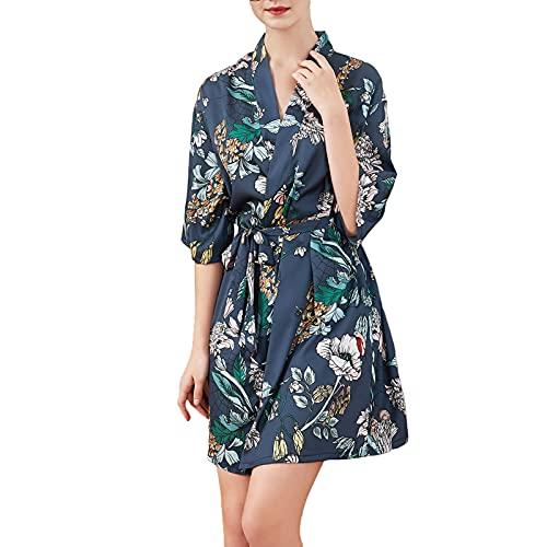 GHHONG Batas de Seda Kimono para Mujer Bata Corta de SatéN con Cuello en V Loungewear Bata de Novia(Size:L,Color:flor azul marino)